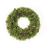 Künstlicher Kranz mit Tanne, Buchs, Beeren und Zapfen, Ø 35 cm - Dekokranz / Weihnachtsdeko -artplants