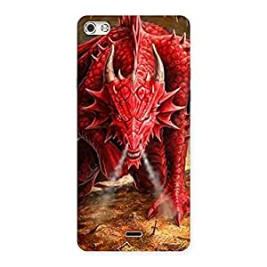 Gorgeous Red Fantastic Dragon Back Case Cover for Micromax Canvas Silver 5