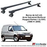 Jeu de 2 Barres de Toit Peugeot Partner I (L1) avec girafon - (1996 = 2008) - Acier...