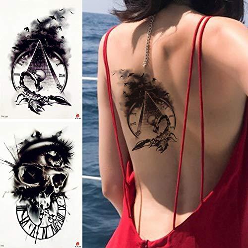 er Ancient Pyramid Clock Tattoo-Aufkleber Scorpion Smoke Bird Traditionelle Schwarze Tätowierungen Body Art Taille Fake Tatoo 21X15Cm ()