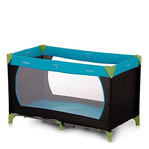 Hauck Kindereisebett Dream N Play, inklusive Matratze und Transporttasche, 120 x 60 cm, ab Geburt, tragbar und faltbar, blau, schwarz, grün (waterblue)