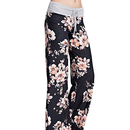 4ca2a0994e67 Lover-Beauty Damen Blumen Weites Bein Hosen Pumphose Haremshose mit  Tunnelzug Casual Printed Leicht Weich