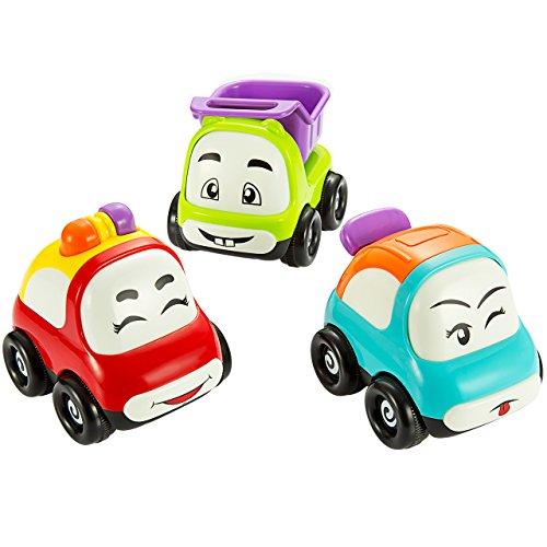 Mini Auto Spielzeug, Pictek Spielzeugautos Set, 3er Set Autos, Spielzeug, Bunte Farben,Cartoon-Smiley-Gesicht Mini Auto für Jungen und Mädchen, Push und Go Funktion, ab 3 Jahren