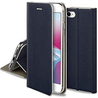 Moozy Hülle für iPhone 7 / iPhone 8, Dunkelblau PU-Leder - Elegant metallischer Kantenschutz Klapphülle Handyhülle mit Kartenfach und Standfunktion