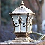Hines Europäische 53CM Vintage traditionelle Victoria LED Glaslaterne Wasserdichte Pfosten Spalte Lampe Wandsäule Lampe Antik Aluminium Villa Garten Außenleuchten Regendicht Tür Post Tischlampe