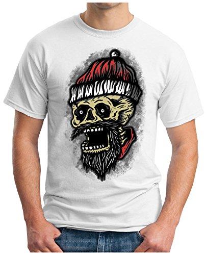 OM3 - SANTA-SKULL - T-Shirt GEEK, S - 5XL Weiß