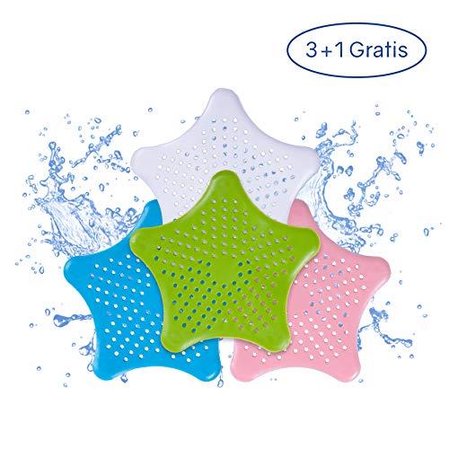PaWa Abflusssieb - 3 + 1 Gratis - Duschstern aus Silikon - Haarsieb für Bad und Küche (Mix)