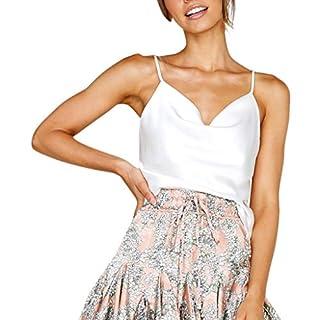 QingJiu Damen Womens Solid Color einstellbar Lässige Basic Riemchen Unterhemd Solide Tank Tops Weste