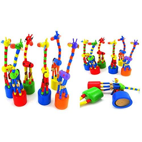 Sonnena Kinderspielzeug, Kinder Bunt Tanzen Schaukelnd Giraffe Holzspielzeug Karikatur Tierspielzeug Lernspielzeug Intelligenz Spielzeug Pädagogisches Geschenk Babyspielzeug (18 * 5 * 5cm)