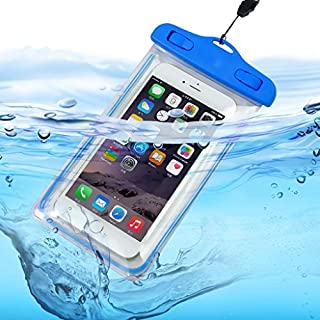 I-Sonite (Baby Blue Universal Transparent Mobile Phone, Passport, Money Underwater Waterproof Swimming Pool, Ocean Protection Bag Touch Responsive For Samsung Galaxy J7 Duo
