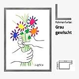 Kunstdruck Poster Bild Pablo Picasso - Bouquet 60 x 80 cm mit MDF-Bilderrahmen Monaco & Acrylglas reflexfrei, viele Farben zur Auswahl, hier Grau gewischt