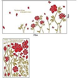 EEvER Angewandte Familiengeräte Rote Pfingstrosen Muster Wandtattoo Blumen Wandaufkleber Wohnzimmer Hintergrund Wanddekoration