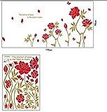 Schreibtischzubehör Rote Pfingstrosen Muster Wandtattoo Blumen Wandaufkleber Wohnzimmer Hintergrund Wanddekoration