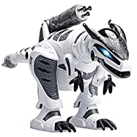 Aomeiqi Remote Control Dinosaur for Kids Electronic RC Dinosaur Toys Programmable Interactive with Lights and Sound Robotic Dino Toy Gift for Children Rotation Stunt and Missile Launchers