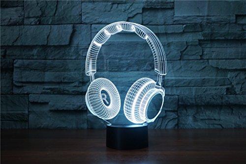 HYSENM 3D Nachtlampe LED Nachtlicht Dekoration Acryl für Kinderzimmer Wohnzimmer Musik-Serie, Kopfhörer (Kopfhörer Serie)