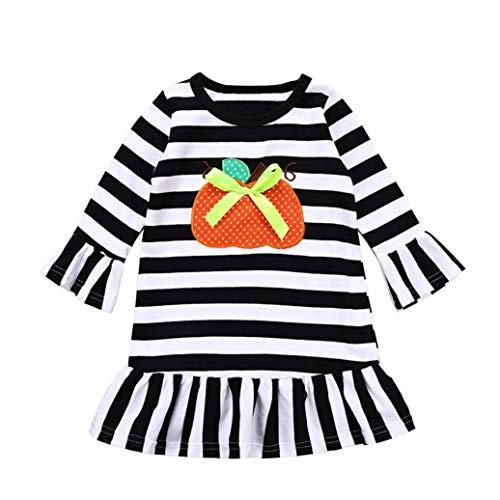 QinMM Kleinkind Baby Mädchen Kleid Kürbis Cartoon Print Streifen Kleider Halloween Outfits Kleidung Sets Weiß Für 12 Monate-4 Jahre (24M, Weiß)