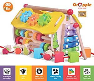 Orapple 6 in 1 Multipurpose Toy Skill House for Kids for Boys & Girls of 1.5,2,3,4 Years Old Age (Multicolor)