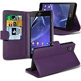 ( Purple ) Sony Xperia Z2 Standplatz-Leder-Mappen-Schlag-Fall-Haut-Abdeckung Mit-Schirm-Schutz-Schutz By Spyrox