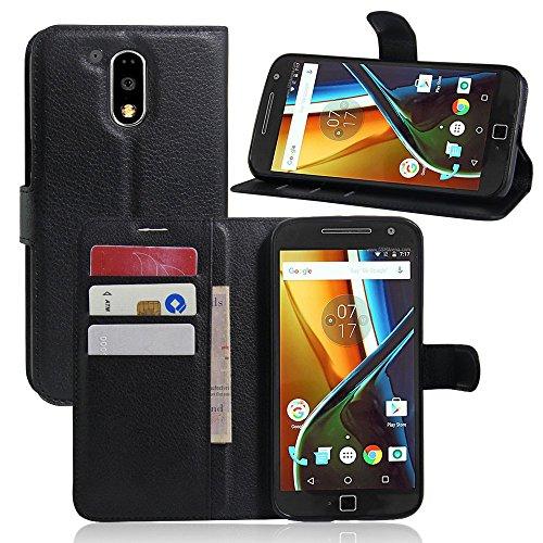 Moto G4 Plus Funda para Moto G4 Plus Cover, VIFLYKOO Flip Cover Tapa de Cuero de La PU Case de la Cartera con Ranuras para Tarjetas Incorporadas para Moto G4 Plus Smartphone Case -
