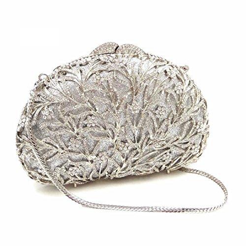 Frizione Delle Donne Foglie Fiori Evening Clutch Borse Silver