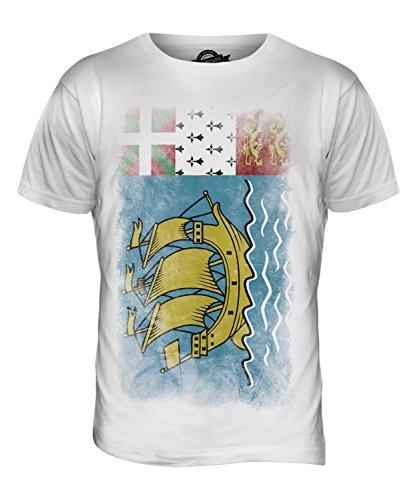 CandyMix Saint-Pierre Und Miquelon Verblichen Flagge Herren T Shirt Weiß