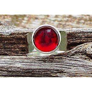Bottled Up Designs Recycelte Jahrgang 1940 rote Bierflasche Glas Edelstein verstellbarer Ring