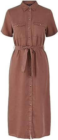 PIECES Pcnola SS Midi Tie Belt Lyocell Dress BC Vestito Donna