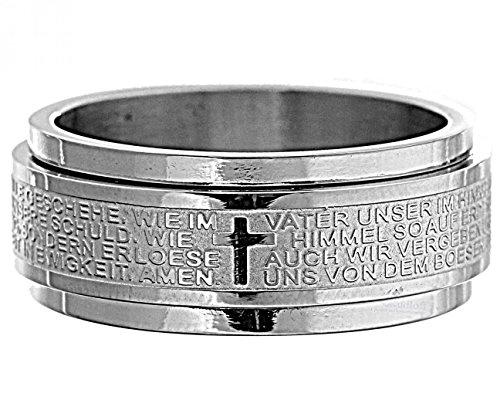 Ring mit 'Vater Unser' Gebet zweiteilig Edelstahl Gebetsring, Ringgröße:60 (19.1 mm Ø)