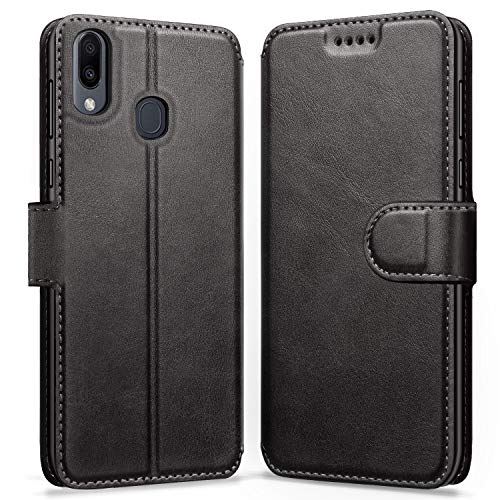 ykooe Handyhülle für Samsung Galaxy M20 Hülle, Schwarz Leder Schutzhülle für Samsung Galaxy M20 Flip Case Tasche