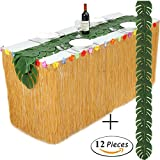 Product review for 3 Yard Handmade Hawaiian Table Skirt and 12Pcs Tropical Imitation Plant Leaves For Party Decoration (3yd Lx30in H, Grass Yellow)