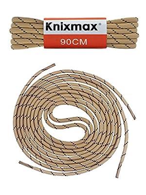 Knixmax Schnürsenkel Rund Flach, Extrem Reißfest, für Sneakers, Arbeitsschuhe, Stiefel, Turnschuhe, Wanderschuhe, Kampfstiefel und Wanderstiefel - Nylon und Polyester - 7 Farben, 12 Längen, 75-150cm