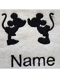 Adultos albornoz con una silueta de Disney Logo y nombre de su elección en color blanco, tamaño M, L, XL o XXL, Blanco, Large