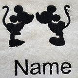 Bademantel für Erwachsene mit einer Disney-Silhouette als Logo, Größe M, L, XL oder XXL, weiß, personalisierbar, 100 % Terry-Baumwolle, weiß, Large