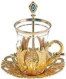 LaModaHome Set di 6 Bicchieri da tè in Stile Turco, con Supporto in Ottone, piattino e cucchiai, placcati in Argento, 24 Pezzi Tulip Oro