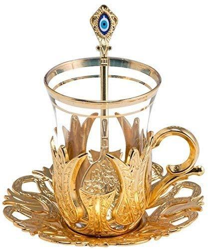 Set von 6Türkischer Stil Teegläser mit Messing Halterung Untertasse und Löffel Set versilbert 24Stück Tulip Gold Gold Tee Gläser