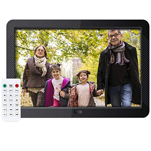 Digitaler Bilderrahmen 10 Zoll Elektronischer Fotorahmen 1280 * 800 IPS Display Mit automatischer Drehung,Fernbedienung,Steckplätzen für MP3- /HD-Videoplayer/E-Book/Kalender/Wecker,USB- und SD-Karten