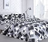 Duvet Cover Set Double With Pillowcases Quilt Bedding Set Reversible Printed Poly Cotton , Infusion Grey