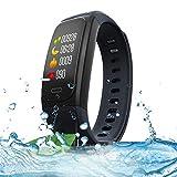 XUEME Fitness-Tracker, intelligentes Bluetooth-Armband IP68 wasserdichtes GPS läuft Radfahren Outdoor Sport-Armband-Herzfrequenz-Erkennung,Black