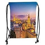 Custom Printed Drawstring Backpacks Bags,Cityscape,City Skyline in Spain Old Mediterranean Touristic Historic Nostalgic Print Home,Multi Soft Satin,5 Liter Capacity,Adjustable String Closure,The