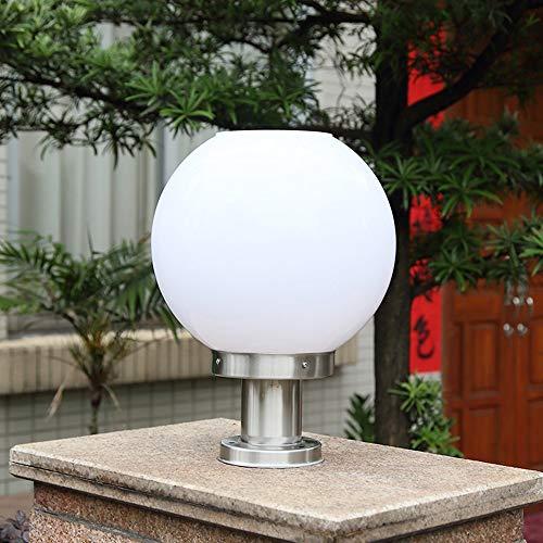 Solar-licht-spalte (Pinjeer Moderne kreative Solar rot/weiß Lampenschirm Spalte Scheinwerfer im Freien wasserdichte Säule Lampe Home Ball Garten Licht Landschaft Post Light (Color : White-30CM diameter))