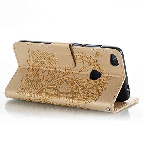 Cover Huawei P8 Lite 2017, Alfort 2 in 1 Custodia Protettiva in Pelle Verniciata Goffrata La metà del Fiore Alta qualità Cuoio Flip Stand Case per la Custodia Huawei P8 Lite 2017 Ci sono Funzioni di S Fiore Oro