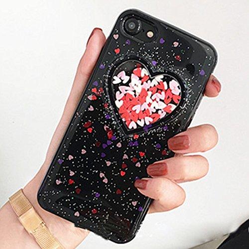 Pour iPhone 6 / 6s, Coque arrière protectrice en poudre pour coeur Glitter Soft Case JING ( Color : Transparent ) Black