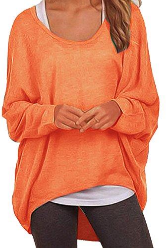 Meyison Damen Lose Asymmetrisch Sweatshirt Pullover Bluse Oberteile Oversized Tops T-Shirt Orange S