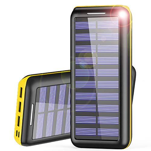 AKEEM Powerbank 24000mAh Verbessert Externer Akku, Solar Ladegerät mit Dual Eingangsports und 3 USB Ausgängen Tragbare Power Bank für das Android/IOS Phone und andere Smartphones/Handys Solar Usb Power