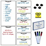Le Yogi A3 Magnetic Kitchen Week Planner Dry Erase White Board With 2 Magnetic Markers, 100+ Video Recipes And 2 Extra Pen Holders