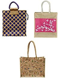 ARIHANT MARKETING Jute Lunch Bags Colour May Vary Reusable (AM011-002-003, Pack Of 3)
