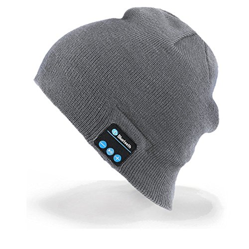 Cappello Bluetooth Bluetooth Music Hat Inverno Berretto lavorato a maglia Berretto per corsa Sport all'aria aperta Sci campeggio Escursionismo Giorno del Ringraziamento Regali di Natale(Grigio chiaro)