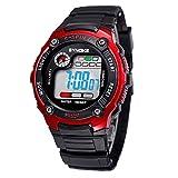 Tangda Kinder Armbanduhr Unisex Jungen Mädchen Armband Uhr Digital LED Sport Uhren Wasserdichte Schule Uhr Alarm Quarzuhr Watch - Rot