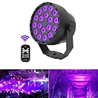 Led Par Can disco lights 54W 18LED DMX512 UV LED Stage Light Ultraviolet Black Light 7 Lighting Modes Glow in the Dark with Sound Activated IR Remote Control for Glow Party Theater DJ Stage Lighting