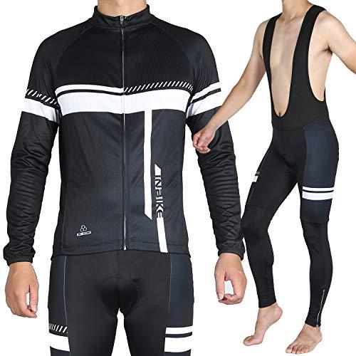 INBIKE Fahrradtrikot Herren Langarm Damen Fahrradbekleidung Männer Set Lang Fahrrad Trikot und Brace Radlerhose mit Sitzpolster(Weiß, S)